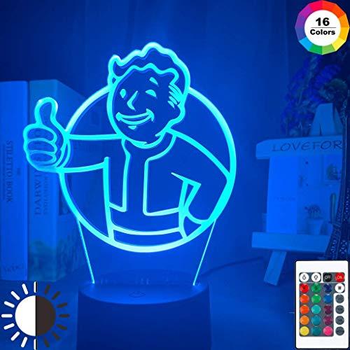 Juego Fallout Shelter Logo Luz de noche LED para niños Decoración de...