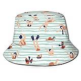 Personas Nadando en el mar Sombreros de Cubo Transpirables con...
