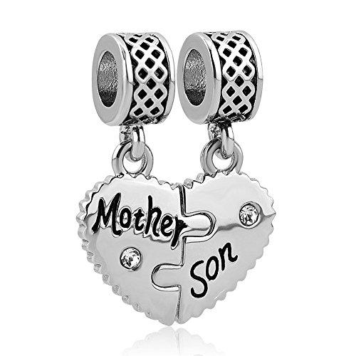 Uniqueen Mother Son Dangle Charms Bead Set for Pandora/Troll/Chamilia Charm Bracelet
