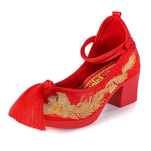 Lihcao Zapatos de la Boda de la Novia Femenina dragón Chino Phoenix...