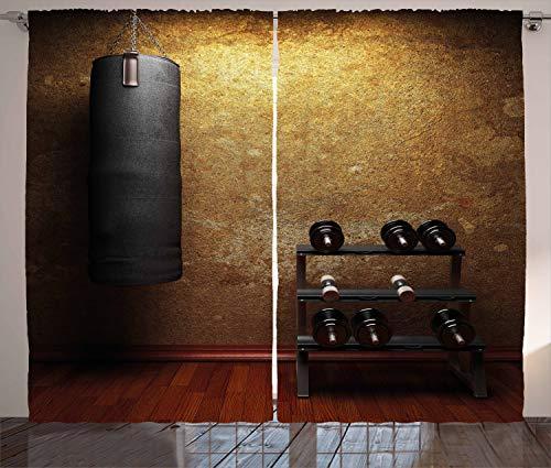 ABAKUHAUS geschiktheid Gordijnen, Gym Room en Halters, Woonkamer Slaapkamer Raamgordijnen 2-delige set, 280 x 245 cm, Black Redwood Pale Brown