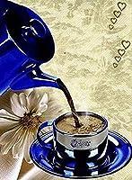 5D DIYダイヤモンド塗装キット、青いコーヒーカップ、フルダイヤモンドラウンドラインストーン刺繡、家の壁の装飾用30x40cm