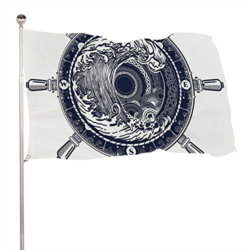 C COABALLA Sea Compass and Storm Tattoo Celtic STLE.Great Outdoors.Tsunami Tattoo.Big Wave Rose t-Shirt Design.of Adventures Boho STLE,Banner Flags with Grommets for Decor 3x5 Ft