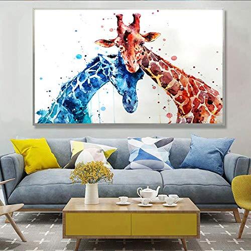 Giraffe Familie mit Brille Wanddrucke und Poster auf Leinwand Aquarell Cartoon Tier Ölgemälde Dekoration Kinderzimmer rahmenlose Malerei 30x45cm