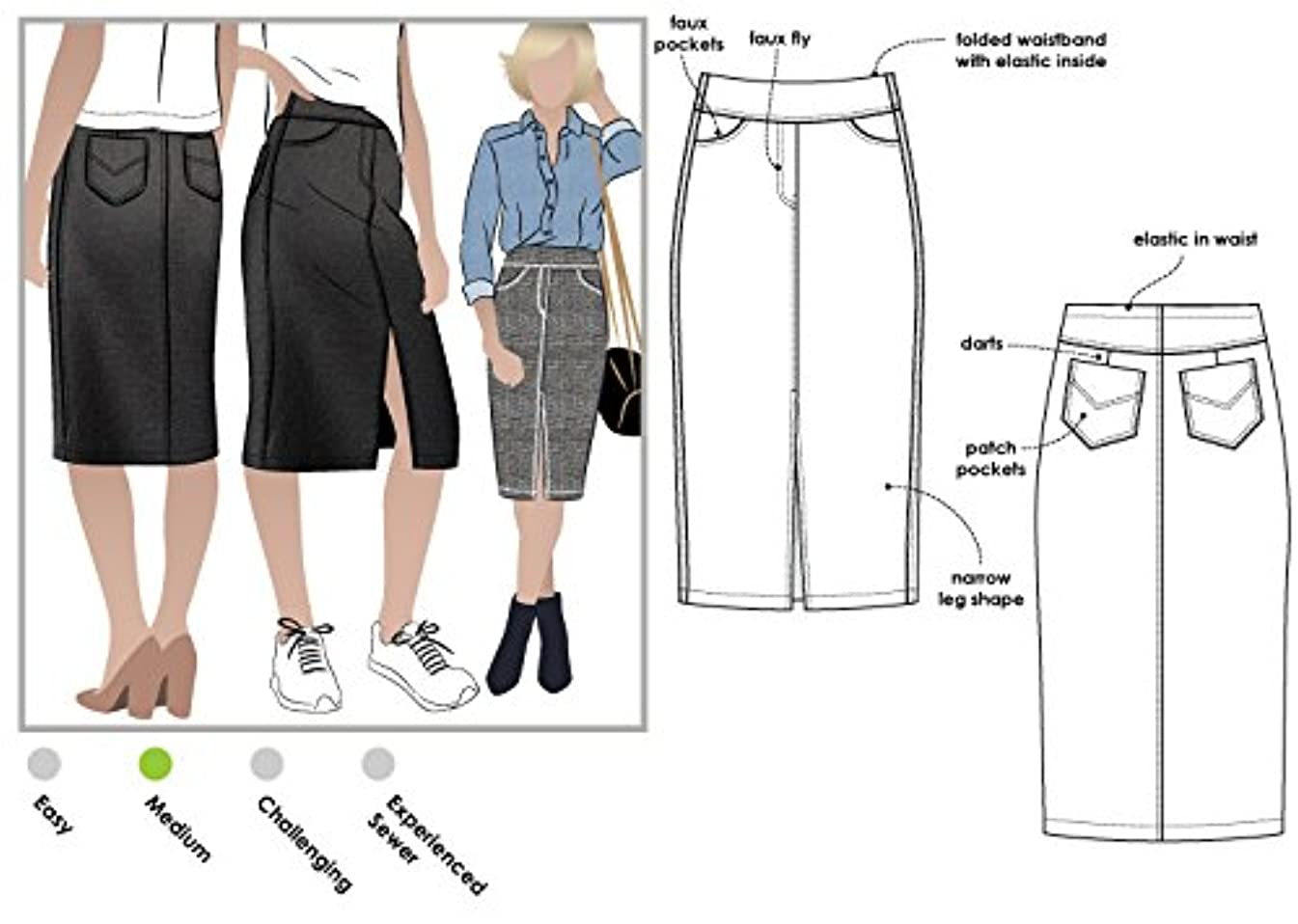 Style Arc Sewing Pattern - Charlie Stretch Woven Skirt (Sizes 04-16) - Click for Other Sizes Available