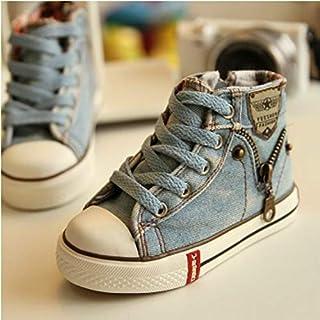 أحذية الأطفال Denim Canvas Sports Breathable Children Flat Boots Shoes, Size:35(Light Blue) أحذية الأطفال (Color : Light Blue)