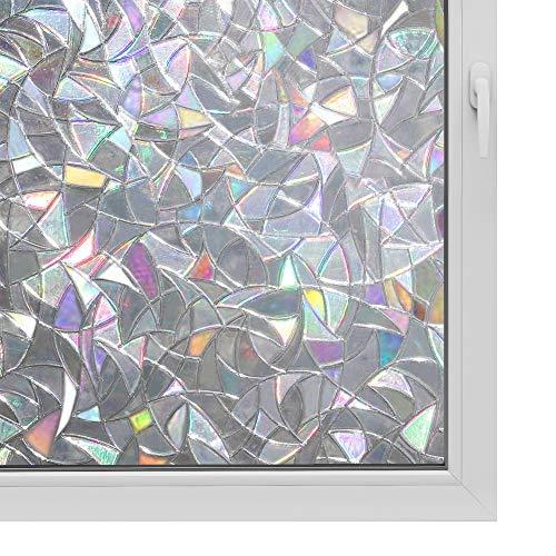 3D Window Film No Glue Privacy for Glass Sticker Static Cling Heat Control Anti UV Non-Adhesive Decorative Crescent 17.7 Inch x 6.5 Feet