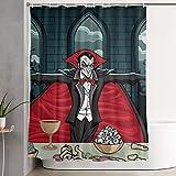 Cortina de la Ducha Shower Curtain with Hooks Durable Waterproof for Decorative Bathroom Curtain Vampire Fangs Black Red