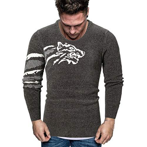 ZODOF jerséis Hombre Invierno Otoño Manga Larga Cuello Redondo Jersey Running Suéteres de Punto Tops Sueter Hombre Slim fit Pullover Sweaters
