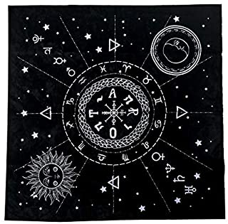 Hippolya Altar Tarot Card Cloth Tablecloth 12 Constellations Pentacle Tablecloth Astrology Tarot Divination Cards Table Cloth Tapestry (19.29 in/49 cm)
