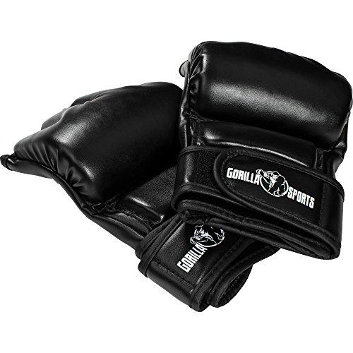 GORILLA SPORTS MMA-Handschuhe mit Bandage Schwarz – Halbfinger-Boxhandschuhe aus Kunstleder L-XL