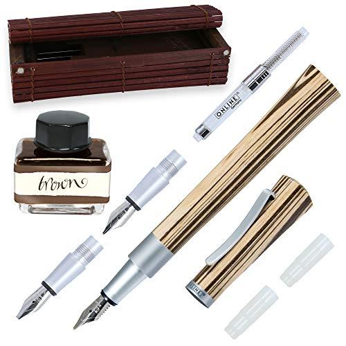 Agarre del pluma estilográfica entre 0.8 y 1.8 mm Con 2 plumas adicionales incluidas Contiene una botella de tinta marrón de 15 ml Trazo largo de acero inoxidable de 1.4 mm