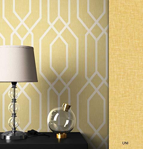 NEWROOM Tapete grafisch gelb Linien Retro Papiertapete Papier Tapete Geometrisch Art Deco inkl. Tapezier Ratgeber ǀ Grafik