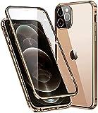 """Funda Compatible iPhone 12 Pro MAX 5G 6.7""""Adsorcion Magnética Carcasa,Protección 360 Grados antigolpes+[protección Objetivo de la cámara],HD Cristal Templado Transparente,Anti-arañazos,Manchas,Dorado"""
