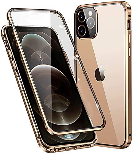 Funda para iPhone 11, absorción magnética, fina, transparente, marco de metal de 360 grados, protección contra golpes, parte delantera y trasera de vidrio templado, diseño de una pieza, color dorado