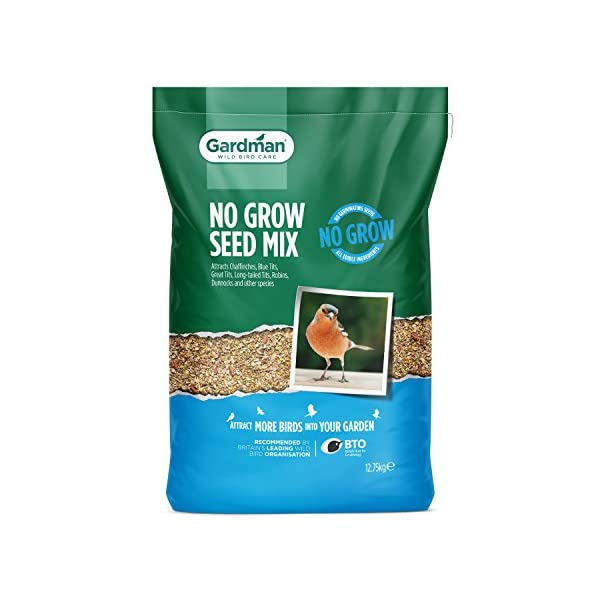 Gardman No Grow Seed Mix, 12.75 kg with No Nets Fat Snax for Wild Birds