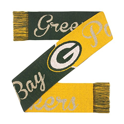 Forever Collectibles Officially Licensed NFL Glitter Script Scarf Green Bay Packers