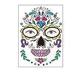 Halloween del tatuaje de la cara de la etiqueta temporal, Día etiqueta engomada del tatuaje cara del hombro del brazo-elegante vestido de fiesta de bricolaje de Terror Negro tatuaje de la cara Muerto,