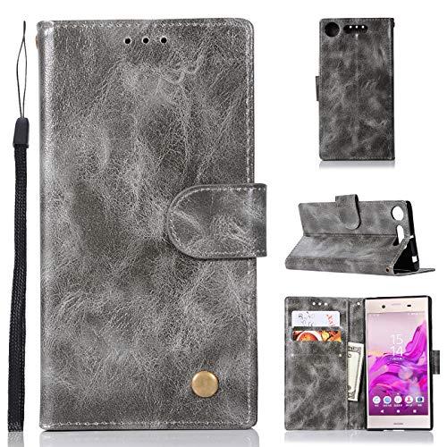 J&H Capa para Sony Xperia XZ1, capa carteira para Sony Xperia XZ1, capa de couro sintético vintage com fecho magnético para Sony Xperia XZ1 de 5,2 polegadas