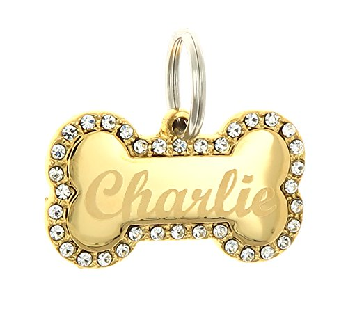 Yippo Accessories Custom Engraved Personalized Gold-Plated Bone Shape Swaroski Zirconia Dog Pet ID Jewelry Bling Tag