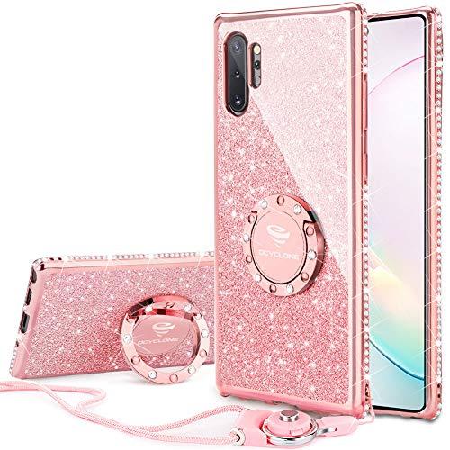 OCYCLONE Hülle Kompatibel mit Samsung Galaxy Note 10 Plus, Glitzer Diamant Handyhülle mit Ring Ständer Schutzhülle für Galaxy Note10 Plus 5G Handyhülle für Mädchen Frauen 6,8 Zoll-Rosa Gold