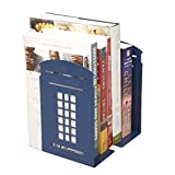 1par de sujetalibros cuadrados, con nostálgico diseño de cabina de teléfonos británica en los extremos con engrosamiento de hierro; sujetalibros metálicos para estantes de biblioteca u oficina. , color azul