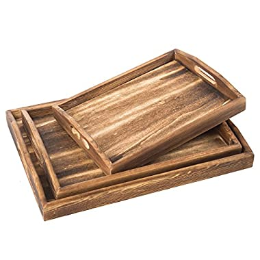 MyGift Set of 3 Torched Wood Rectangular Nesting Breakfast, Coffee Table/Butler Serving Trays, Dark Brown