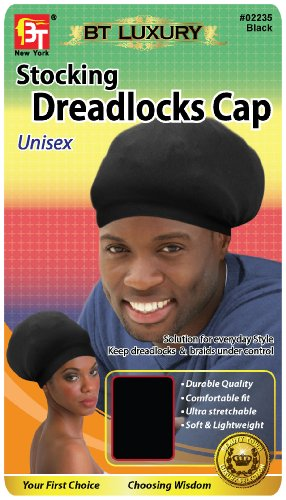 Beauty Town Stocking Dreadlocks Cap - Black, Comfortable fit, stretchable, super stretchy, soft, durable, lightweight, stays on your head, unisex