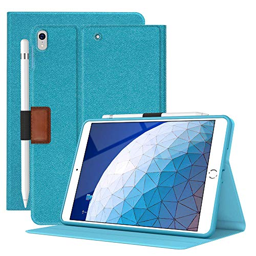 Supveco iPad Air 3 Case 2019/iPad Pro 10.5 2017 with Pencil Holder, Denim Series Premium Flip Stand Case, Soft TPU Back Smart Cover with Auto Sleep/Wake for Apple New iPad Air 3rd Generation (Blue)