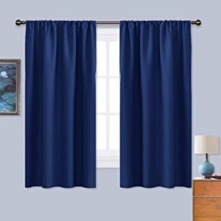 NICETOWN Dark Blue Curtains Blackout Draperies - Home Fashion Thermal Insulated Solid Drape Panels for Kid's Room, Privacy Window Dressing (1 Pair, 42 inches x 45-Inch)
