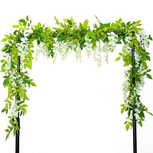 FuTaiKang Künstliche Girlanden, Weinblumen, Purpur, für Dekoration, Garten, Haus, Außen, Zeremonie, Hochzeit, Rosenbogen, 2 m, weiß, 4pcs