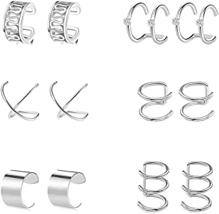 6 Pairs Stainless Steel Fake Ear Clips Set Non Piercing Earrings Hoop Ear Cuffs Helix Cartilage Clip on Earrings Set for M...