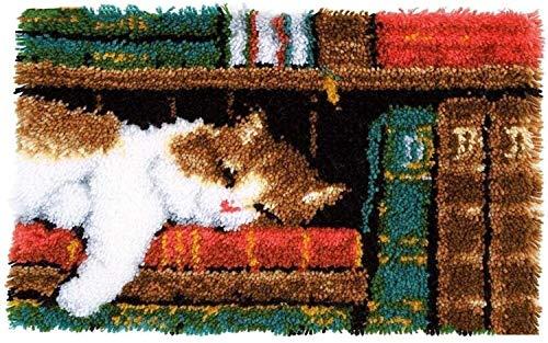 QAZWSX Crochet Kit Abdeckung DIY Kissen for Erwachsene und Anfänger, Verriegelungshaken-Kits Pillowcase Stickerei Kit (Cat Sleeping 43 X 43 cm) handgefertigt (Color : Cat)