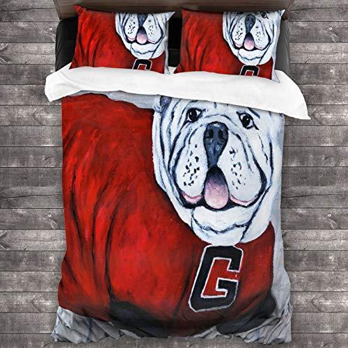 BROWCIN Juego de Sábanas Georgia Bulldog UGA X College Mascot Juego de Funda nórdica y Funda de Almohada(140*200cm) Cierre de Cremallera con Lazos de Esquina