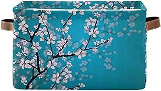 Doshine Panier de rangement pliable avec poignées Motif fleurs de cerisier japonais Grand panier à linge pour organiser le...