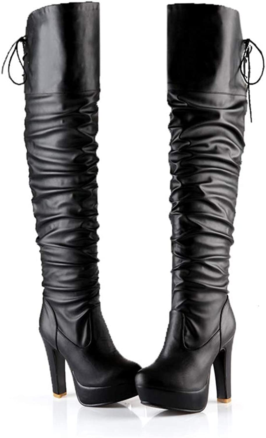 Hoxekle Women Over The Knee High Boot Winter Soft Leather Long High Heel Boot Platform Round Toe Female Fashion Sexy Party Casual shoes
