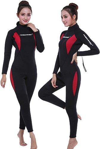 FUNPIVERS femmes Wetsuit Full 3mm 2mm Néoprène Surf Plongée sous-Marine Snorkeling Maillot de Bain Confortable Combinaison Parfaite,XXXL
