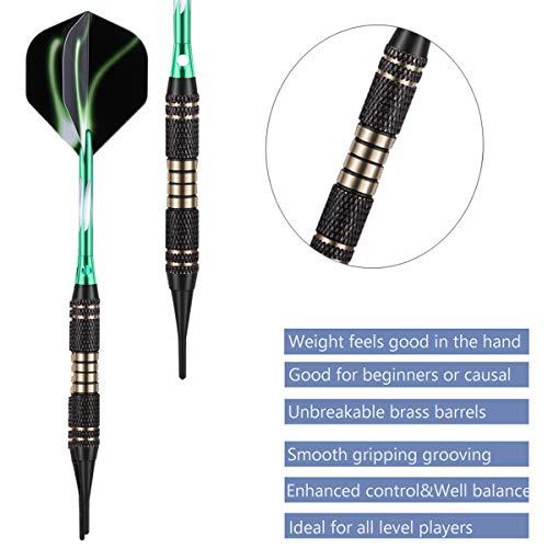 sanfeng Soft tip Darts Set 18 Gram - Professional Darts Plastic Tip with Brass Barrel + Aluminum Shafts + 50 Rubber o-Ring + 6 Flights +30 Soft Tips for Electronic Dartboard
