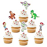 18pcs Toy Inspired Story Cupcake Toppers - Toy Game Story Party Glitter Buzz Lightyear Woody Cupcake Supplies - Boys Girls Birthday Party Decoration Favors