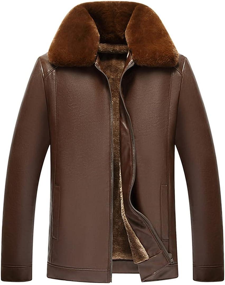 Mens Clothing Long Sleeve Fashion Casual Coats Sheep Leather Fur Coat Fleece Jacket
