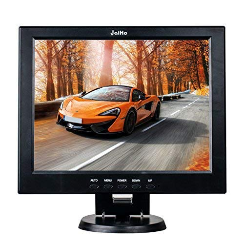 """JaiHo 12"""" LCD de alta definición Monitor, 800X600 4: 3 Resolución HD Pantalla TFT LCD en color HD con puertos USB VGA/HDMI/AV/BNC/MIC para cámara de vigilancia, altavoz incorporado"""