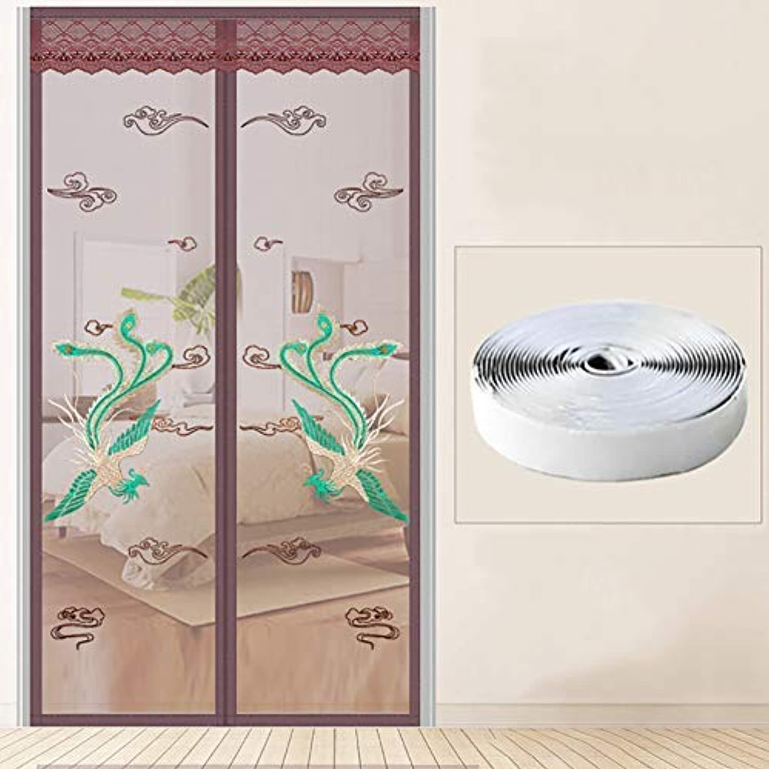 DYR Magnetic Fly Screen Door Phoenix, Mosquito net Fly mesh Curtain with Magic Tape Anti pest Hands FreeBrown 90x210cm 35.4x82.6inch