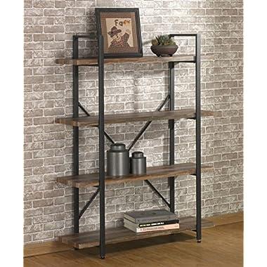 O&K Furniture 4 Tier Bookcases Book Shelves, Industrial Vintage Metal Wood Bookcases Furniture