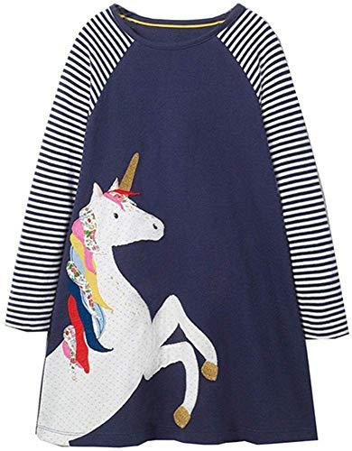 OHBABYKA Ohbabyka Little Girls Cute Casual Baumwolle Tiere gedruckt Streifen Langarm Playwear Kleid (Purple Horse, 4T)