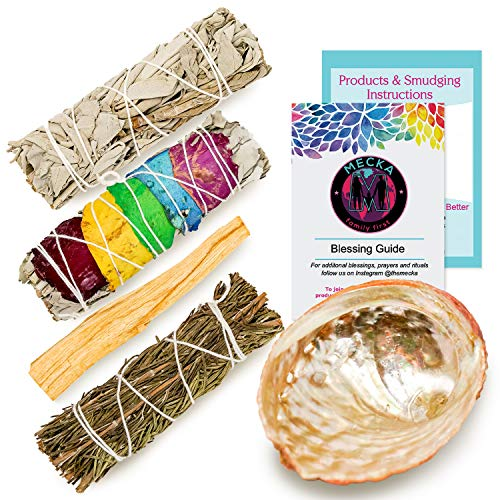 Mecka Smudge Starter Kit - California White Sage, Flower Sage, Palo Santo, Rosemary & Abalone Shell + Smudging Instructions, Blessing Guide & Product Info