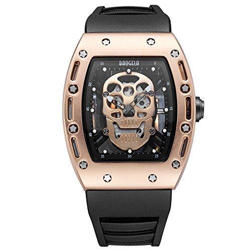 vicvio orologi Vintage da uomo nero orologio da polso cinturino in silicone Rose Gold analogico al quarzo brillante nel buio 3ATM resistente all' acqua