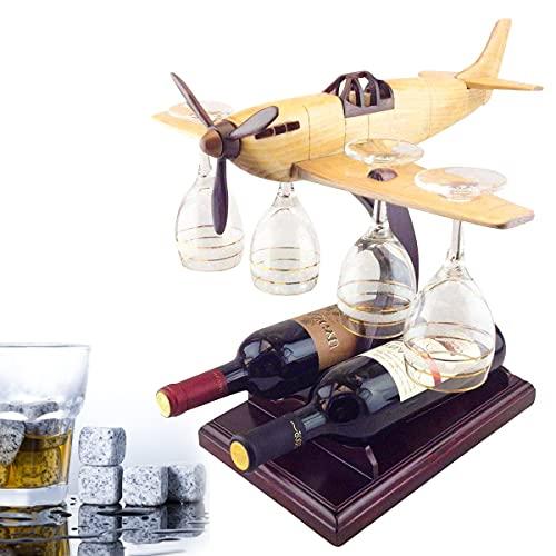NZQLJT Estante para Vinos, Copa De Vino Coleccionable Y Soporte para Botellas, Pequeño, De Pie, Pistola De Avión, Decantador De Whisky con Juego De 4 Vasos De Whisky, Gran Regalo De Bar