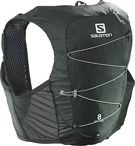 Salomon Active SKIN 8 SET, Gilet Unisex per l'Idratazione da Trail, 8 L, con Incluse 2 Borracce Morbide, per Corsa ed Escursionismo, M, Verde Scuro (Green Gables/Alloy)