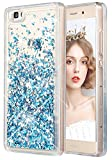 wlooo Funda para Huawei P8 Lite, Glitter liquida Cristal Silicona Lujo 3D Bling Flowing Sparkly Cute Transparente Cover Protector Suave TPU Bumper Case Brillante Arena movediza Carcasa (Azul)