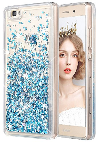 wlooo Funda para Huawei P8 Lite, Glitter liquida Cristal Silicona 3D Bling Flowing Sparkly Cute Transparente Cover Protector Suave TPU Bumper Case Brillante Arena movediza Carcasa (Azul)